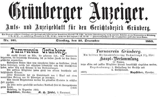 Zeitungsannonce 1883